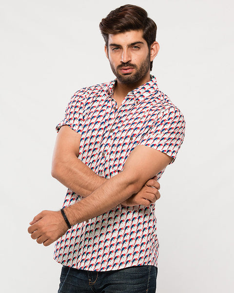 March Red & Blue Parrots Printed Cotton Shirt with Short Sleeves for Men