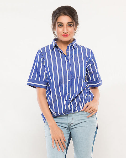 Nurai Thick Blue Stripes Shirt w/ Fixed Slanted Hem for Women