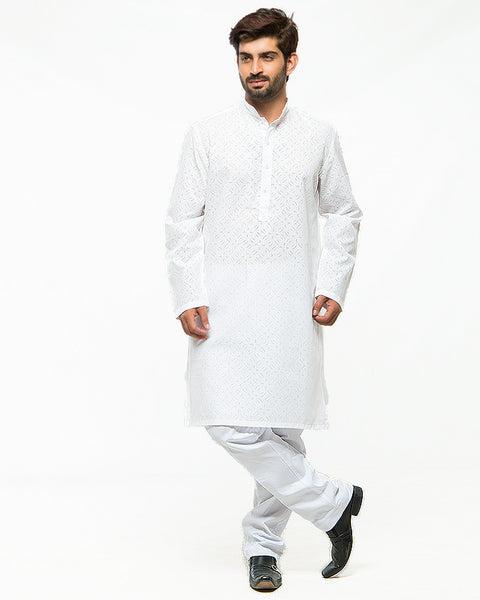 March White Self Scar Print Kurta W White Pajama for Men