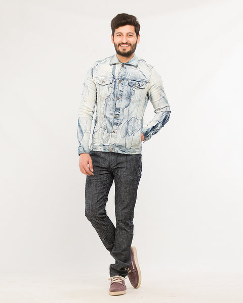 Stained Ice Blue Stretchable Denim Jacket