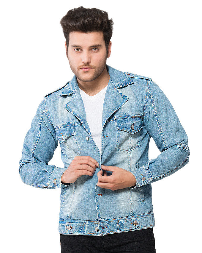 Investigator Denim Jacket in Light Wash With Silver Buttons