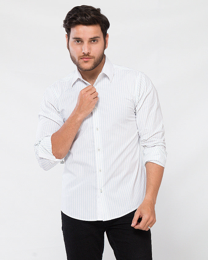 March White Stretch Cotton Shirt with Blue Stripes and White Collar for Men