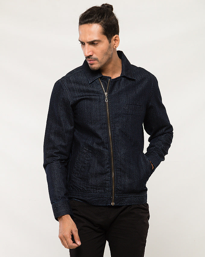 March Deep Blue Double Breasted Zip-up Jacket for Men