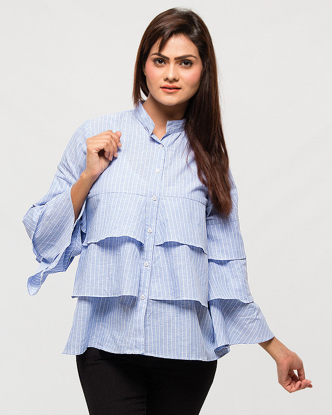 Nurai Sky Blue Irish Linen Striped Shirt w/ Frill for Women
