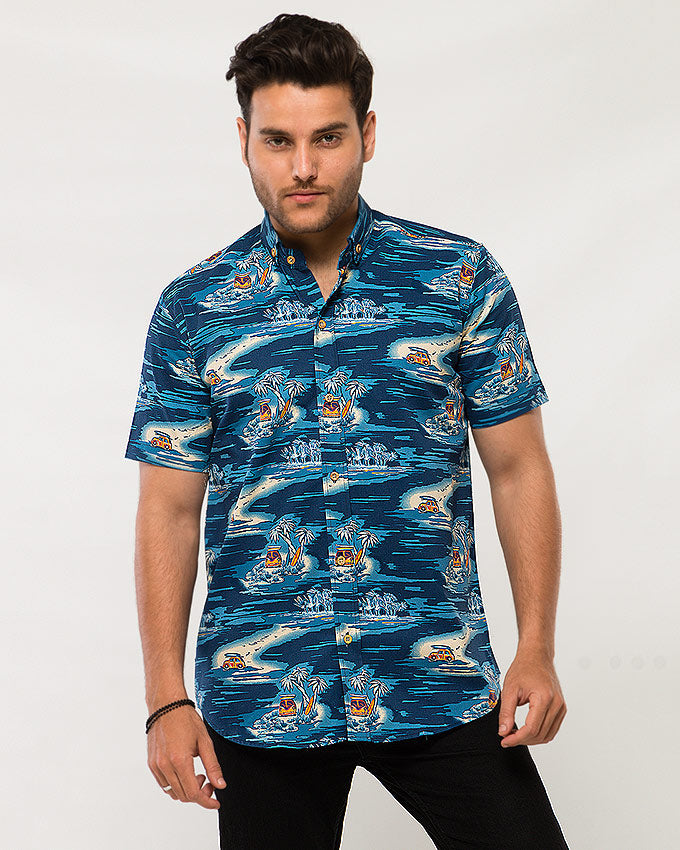 daffbf3850b4 March Blue Island with Yellow Buses   Surf Boards Printed Soft Linen Shirt  with Half Sleeves for Men