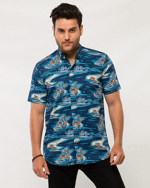March Blue Island with Yellow Buses & Surf Boards Printed Soft Linen Shirt with Half Sleeves for Men