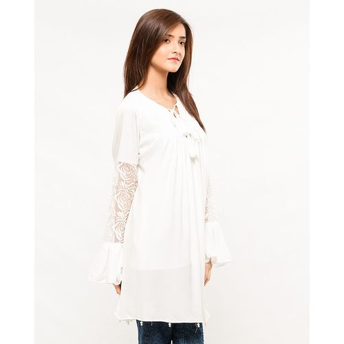 Nurai White Satin Top Keyhole Neck w/ Embroidered Net Sleeves & Pearls for Women