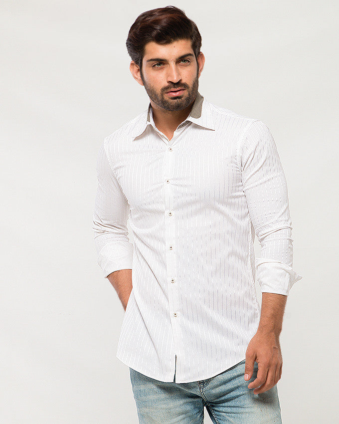 March White Sateen Stripes Shirt with Slight Collar Contrast for Men