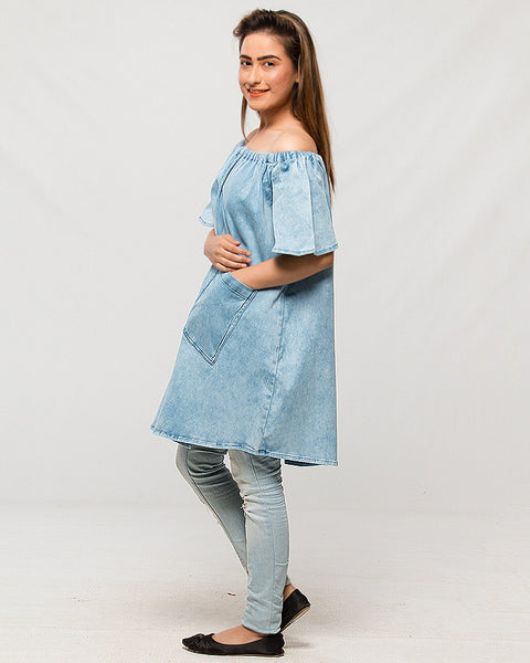 March Ice Blue Denim Off-Shoulder Top w/ Big Pockets for Women