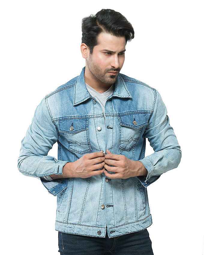 March Medium Wash Denim Jacket with Tonal Variety & Silver Buttons for Men