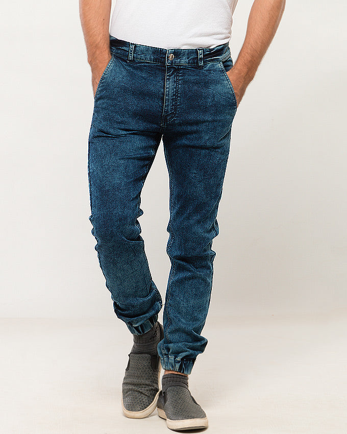 March Muddy Blue Jean Jogger W Acid Wash for Men