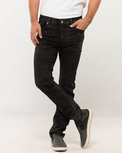 March Asphalt Finish Stretchable Jeans Straight Leg for Men