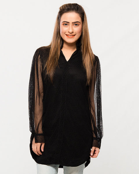 Nurai Black Net Shirt w/ Frilly Collar & Full Sleeves for Women