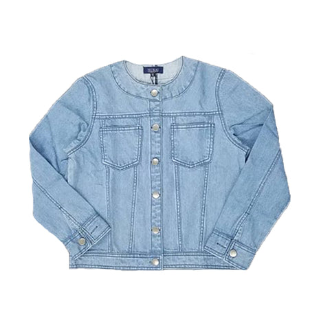 Light Blue Denim Jacket W Round Neck & Silver Buttons for Girls