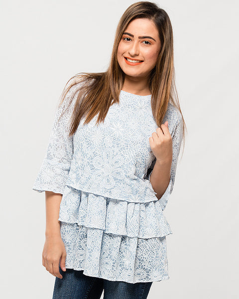 Nurai Blue Soft Cotton Frilly Long Jersey Shirt w/White Printing for Women