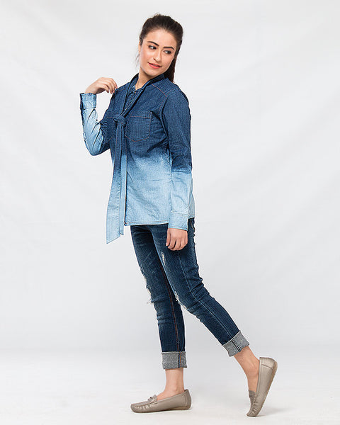 March Blue Stretch Denim Shirt W Necktie & Gradient Wash for Women