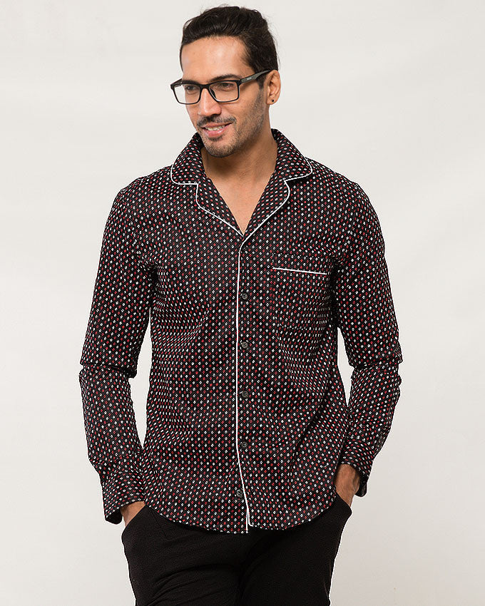March Black Satin Cotton Printed Shirt W Rounded Collar for Men