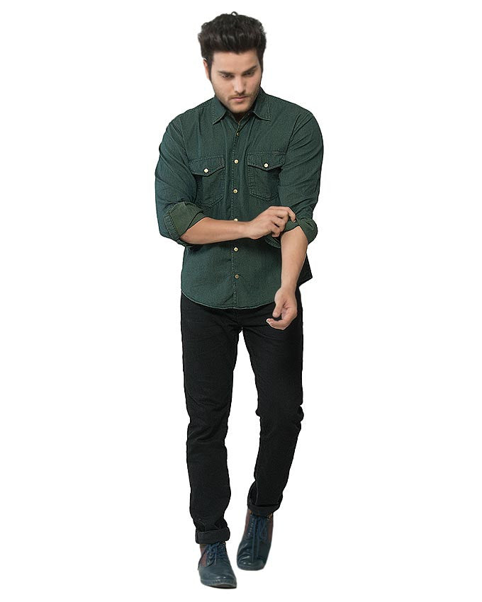 f1039e1bc25 March Dark Green Brass Buttondown Overshirt for Men - MD-358-A