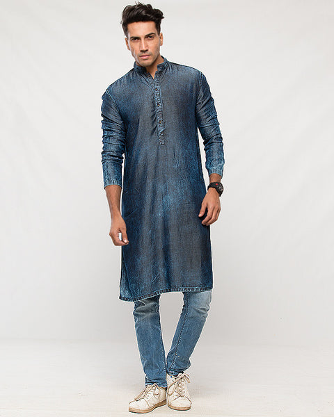 Deep Blue Tencel Denim Kurta