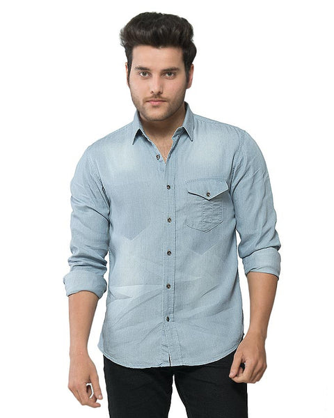 March Blue Denim Shit With Single Chest Pocket & Color Blocking for Men