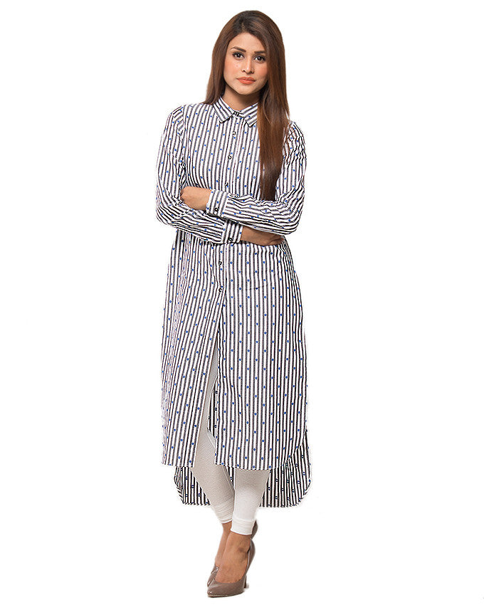 March Grey & White Stripes Cotton Buttondown Maxi Shirt for Women