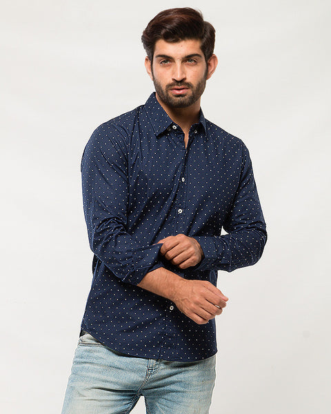 March Blue Cotton Shirt with Miniature Triangle Prints for Men