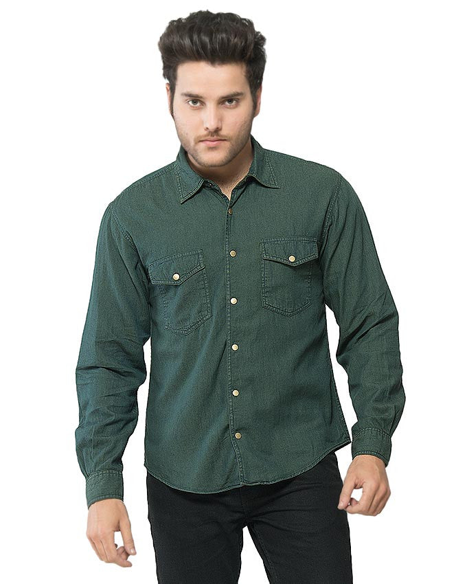 March Dark Green Denim Brass Buttondown Overshirt for Men