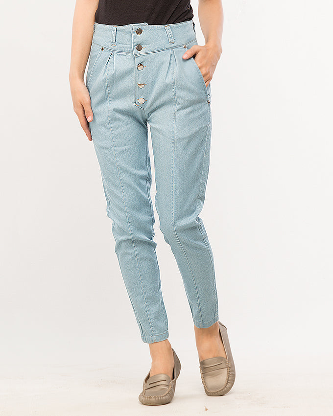 Powder Blue Denim Mom Pants