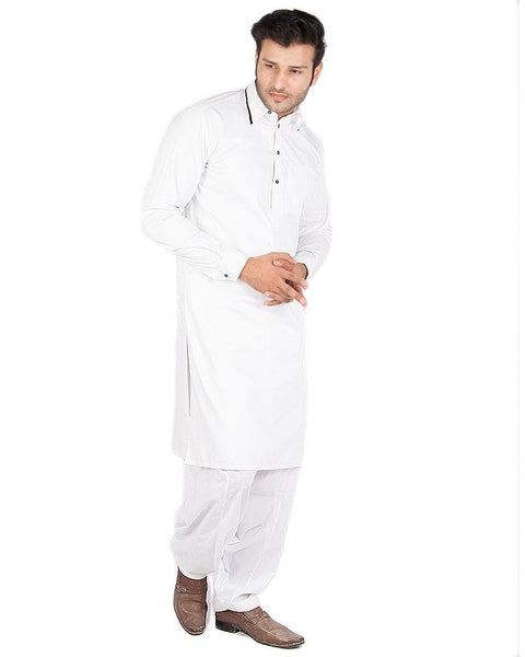 March White Kameez w/ Navy Blue Collar Piping & Blue/White Shalwar For Men