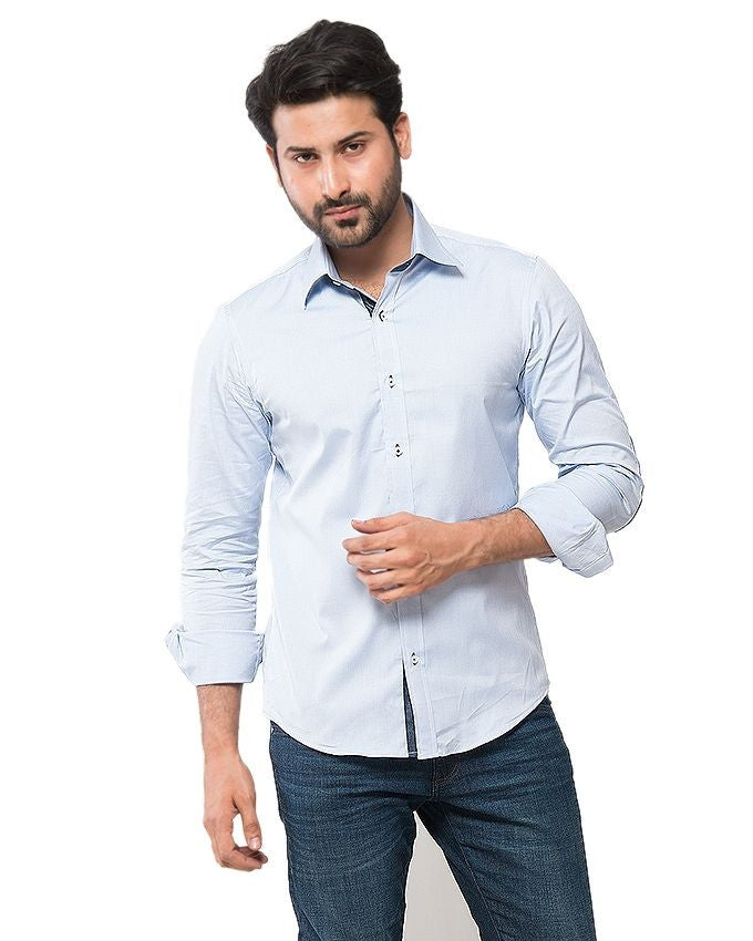 March Blue Oxford Cotton Shirt W Denim Elbow Patches