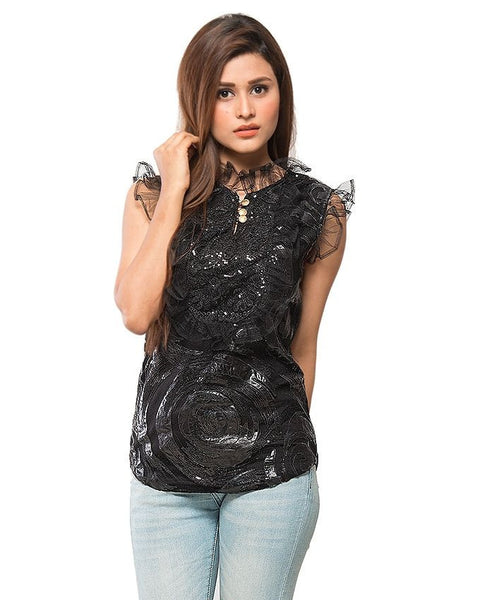 March Black Cotton Net W Leather Patches Top for Women