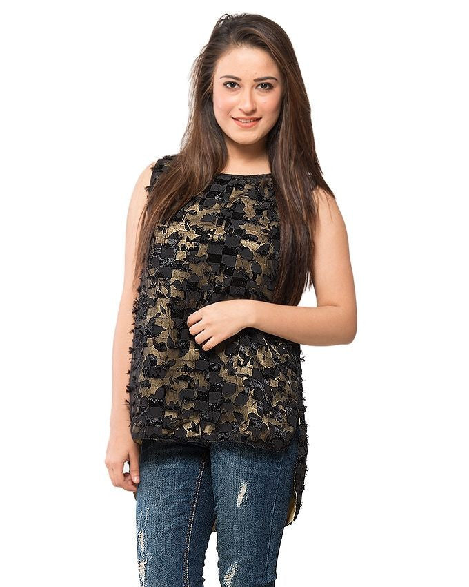 March Black Net Top W Golden Lining for Women