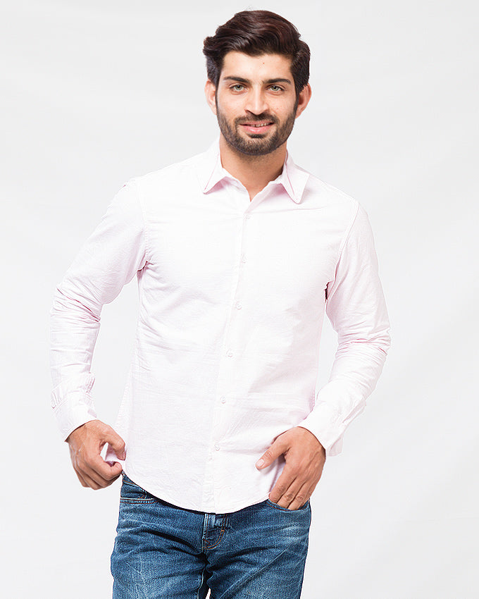 March Pink Oxford Cotton Shirt W Dual Collar for Men