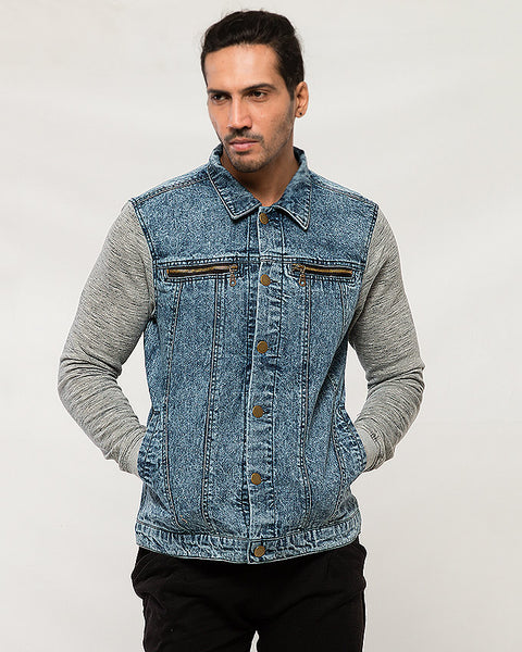 Sunshine on Ocean Floor Denim Jacket W Heather Gray Sleeves for Men