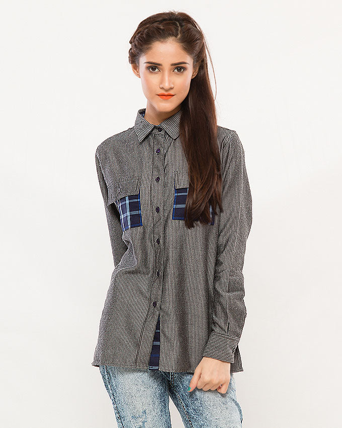 Denim Striped Buttodown Top w Checkered Pockets