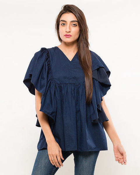 Nurai Fine Ink Blue Denim V-cut Top w Boxed Frill for Women