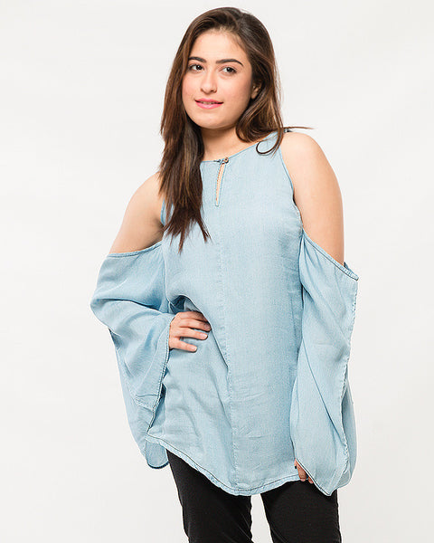 Ice Blue Silky Denim Off-shoulder Top with Boho Sleeves