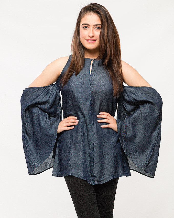 Dark Blue Silky Denim Off-shoulder Top with Hanging Sleeves