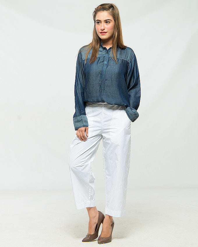 White Cropped Pajama with Small Printed Symbols