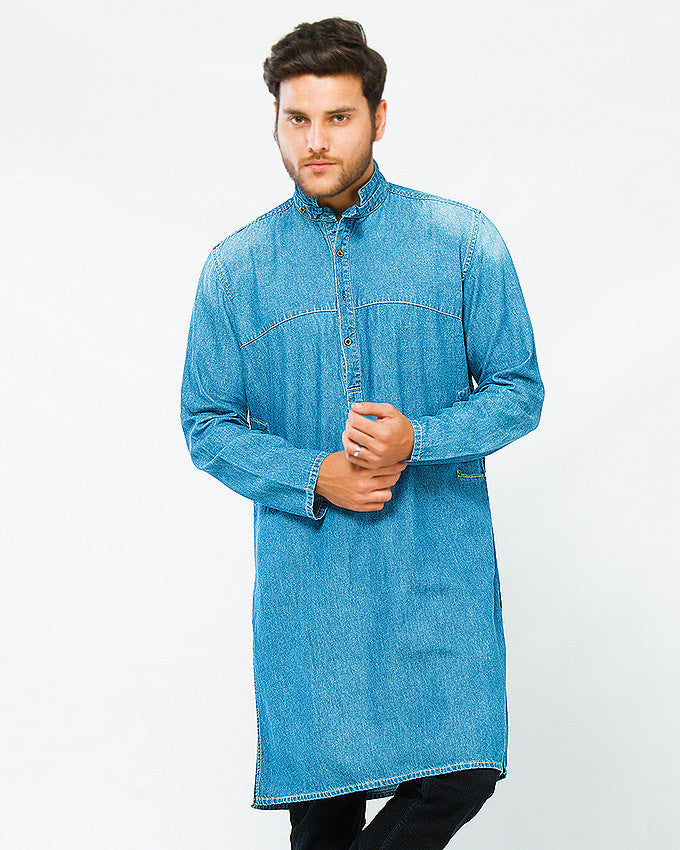 Asset Denim Mao Collar Kurta in Medium Blue Wash For Men