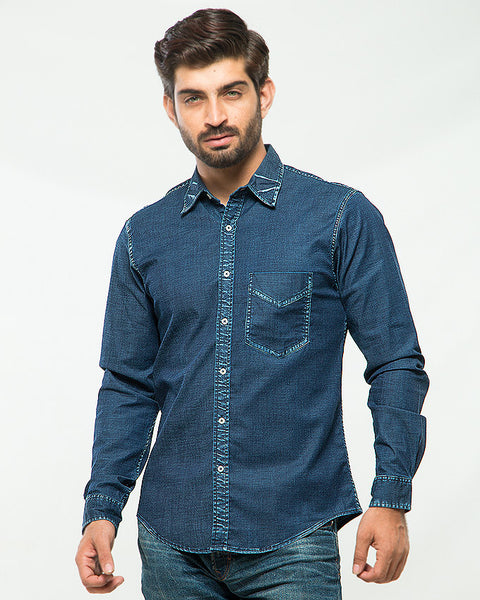 March Stretch Denim Shirt Coolmax - Dark Blue for Men