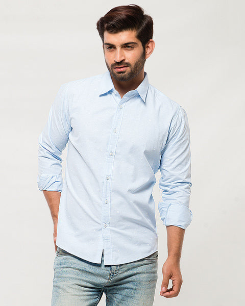 March Sky Blue Cotton Shirt with Tiny Bows for Men