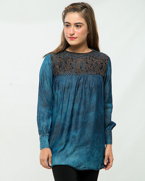 Nurai Dark Blue Eastern Denim Shirt W Brown Lace on Front for Women