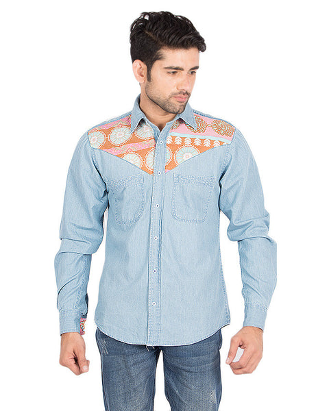 March Mid Blue Denim Shirt with Floral Patchwork for Men
