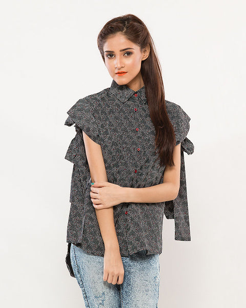 Nurai Printed Black Mega Sleeves Shirt w/ Red Buttons & Bow on Back for Women