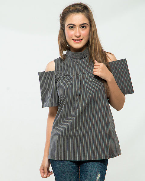 Nurai Navy Blue Cotton Stretch Shirt W Pin Stripes & Cold Shoulders for Women