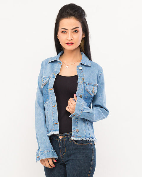 Ice Blue Stretch Short Denim Jacket