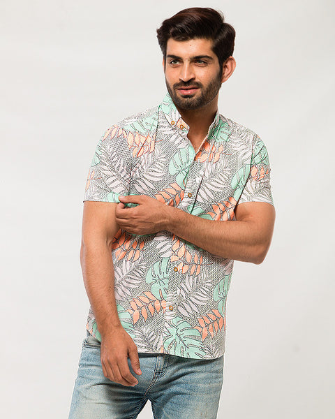March Orange & Green Neon Fig Leaves Printed Cotton Shirt with Short Sleeves for Men