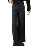 March Black Denim Front Pleated Flared Pant for Women