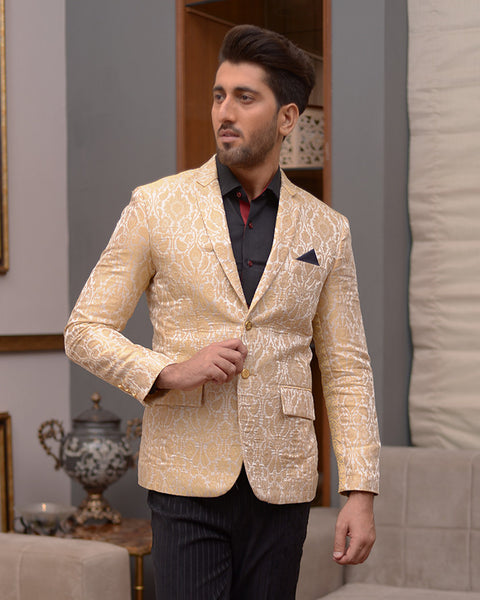 Men Printed Blazer Coat Cream Base with Gold Print For Men